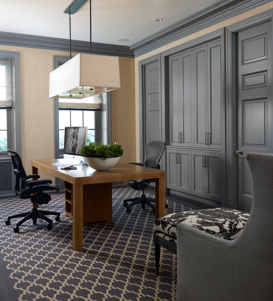 Traditional Gray Home Office Furniture Design Idea