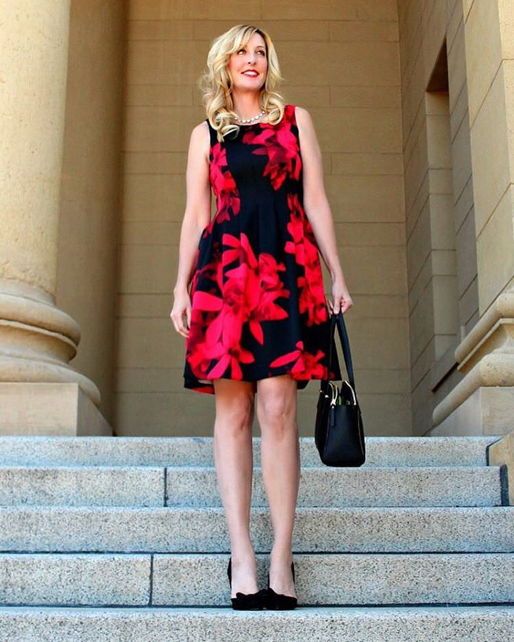 Red & Black-Fit and Flrae Dresses