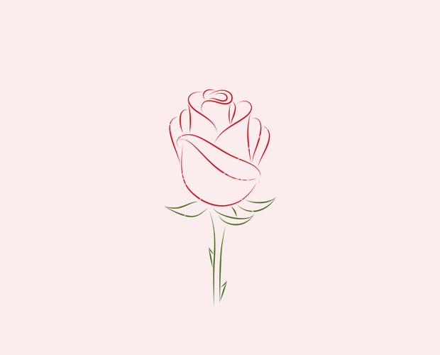 Classy Outline Rose Vector