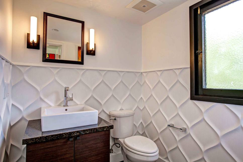 wavy textured wall design in white bathroom - Textured Wall Designs