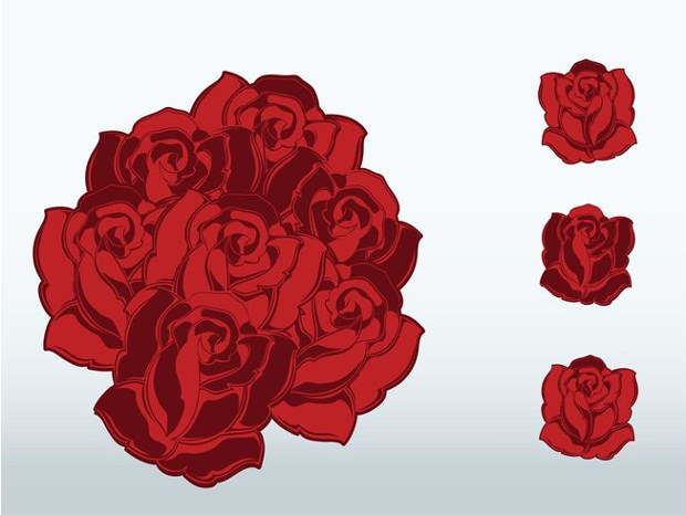 Elegant Flowers Vector of Red Roses
