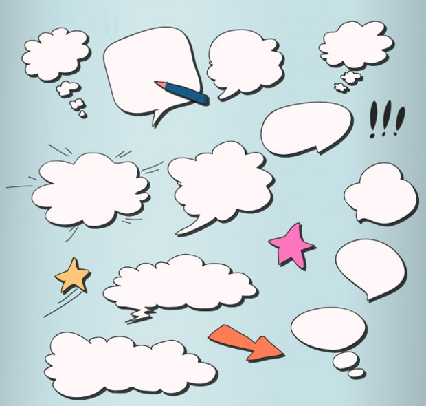 Comic Style of Cloud Vector