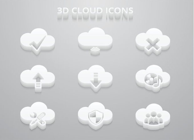 3D Cloud Icon Vector