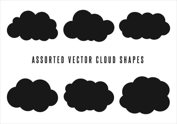 Black Colored Cloud Shape Vectors