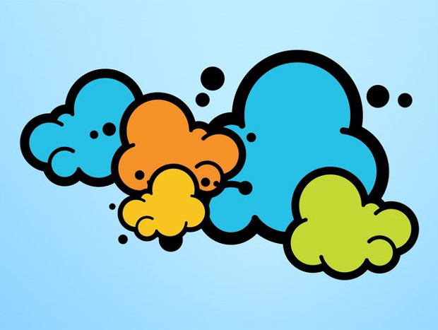 Colorful Sky Vector Cartoon Clouds