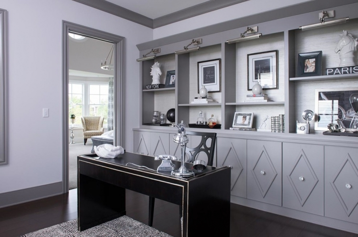 Nice Gray Home Office with Black Furniture