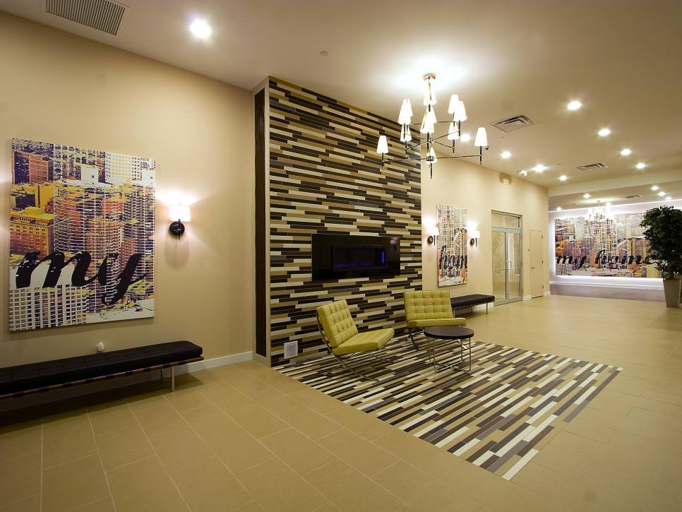 Tiled Wall With Tiled Floor In Living Room. Vanessa DeLeon Designs