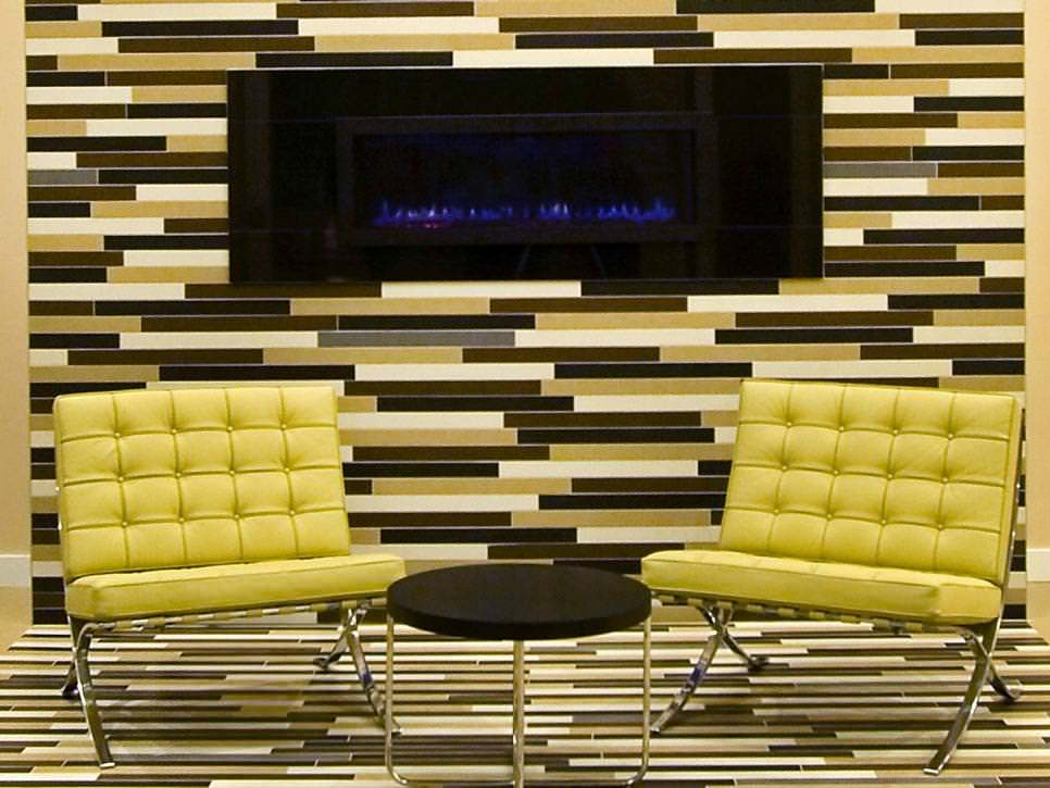 modern living room with stunning tiled fireplace wall - Living Room Wall Tiles Design