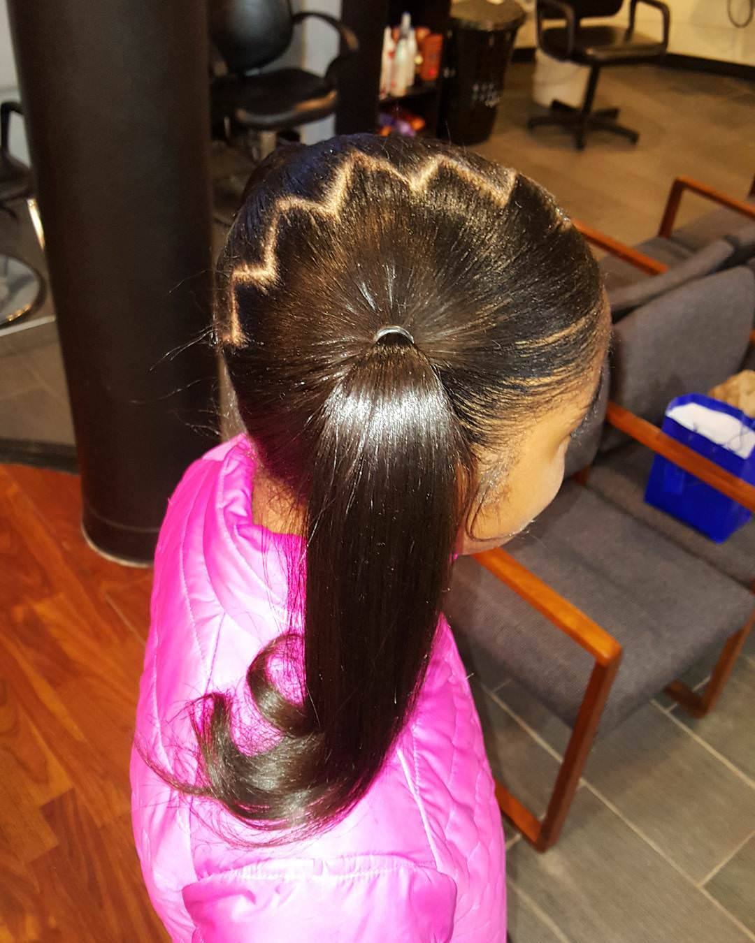 Center Part Hairstyle for Little Girl