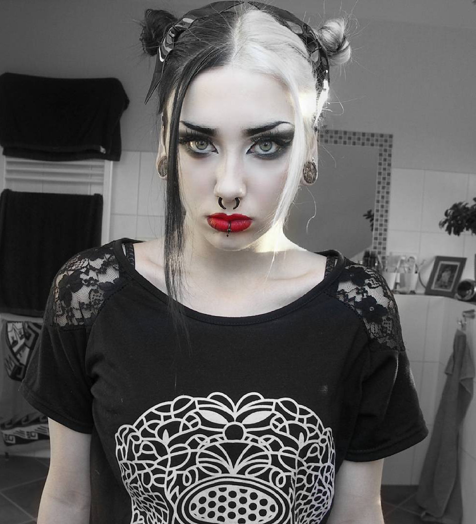 black and white gothic hair