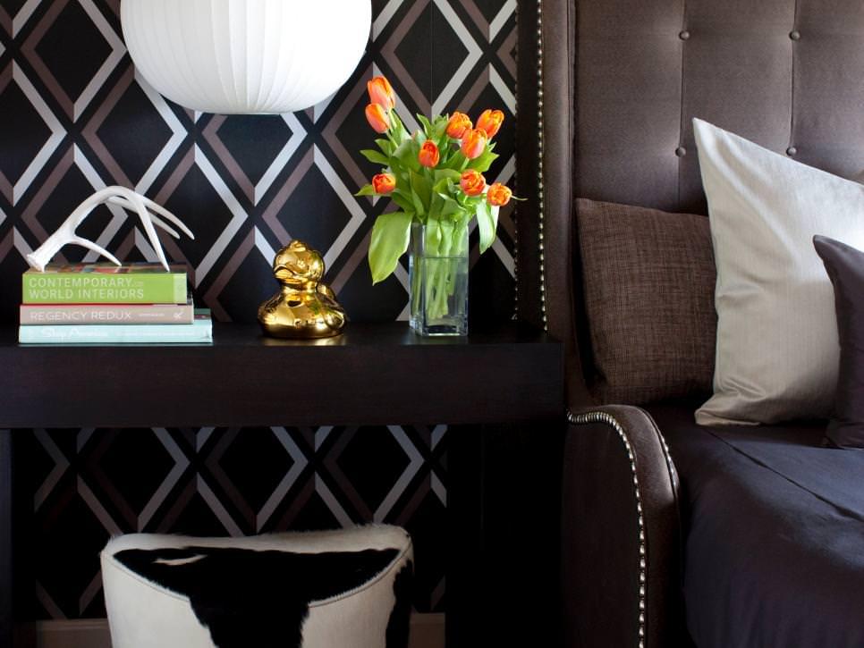 geometric patterned wallpaper in bedroom