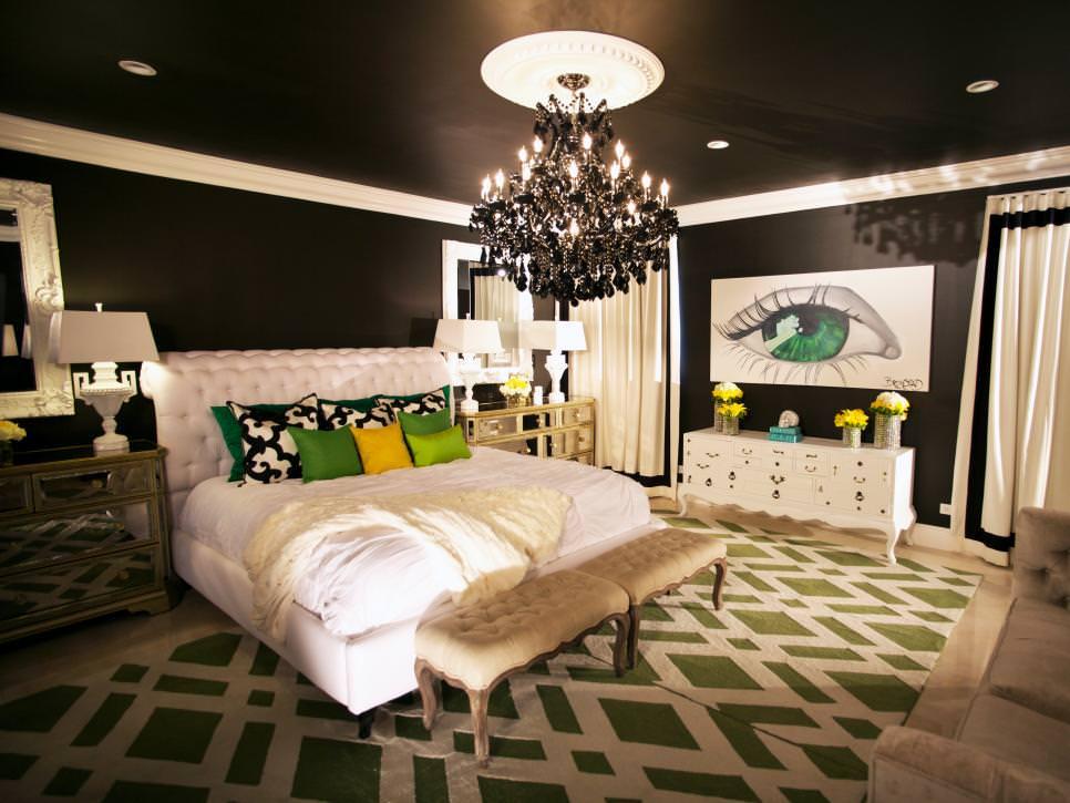 striking bedroom with black ceiling