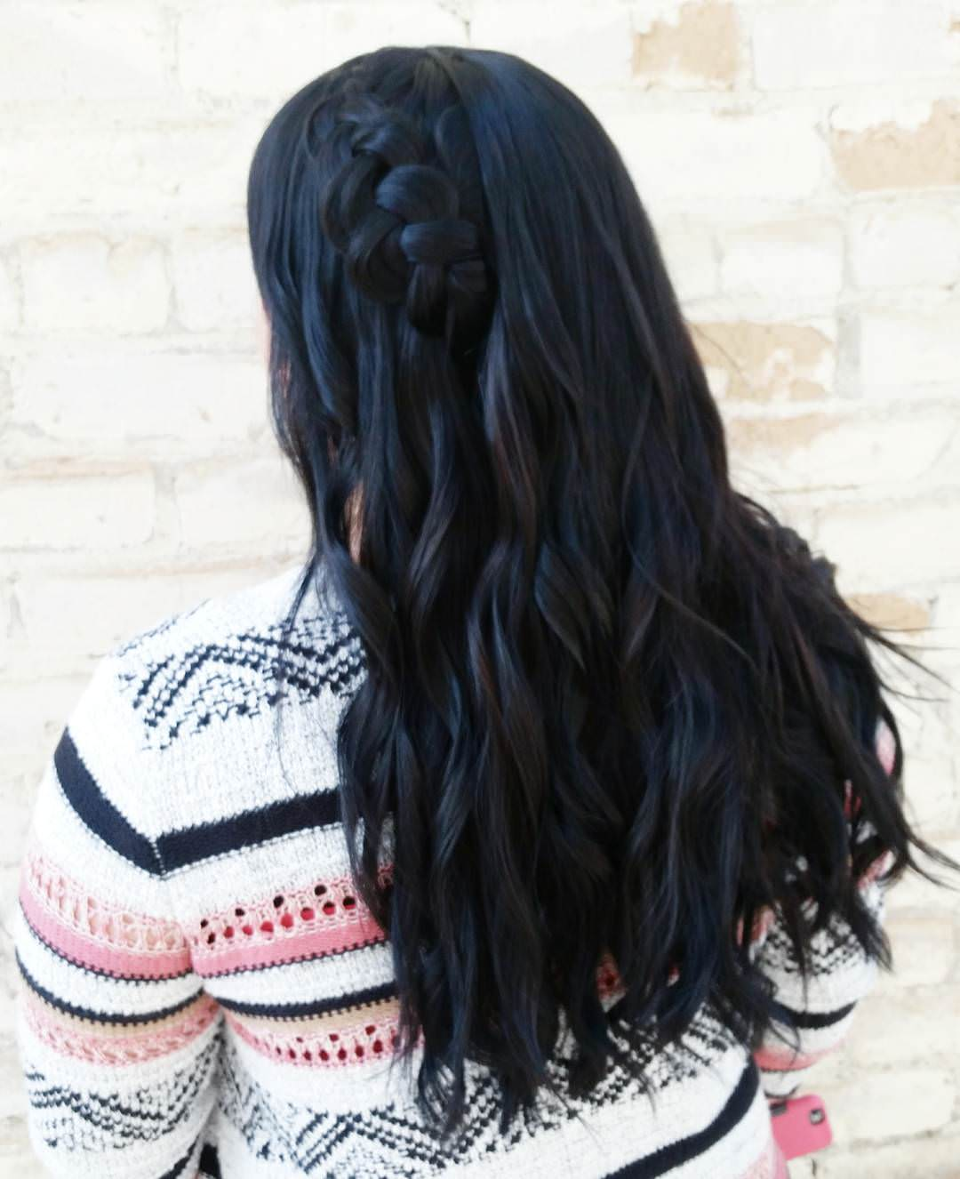 black waterfall braid hair