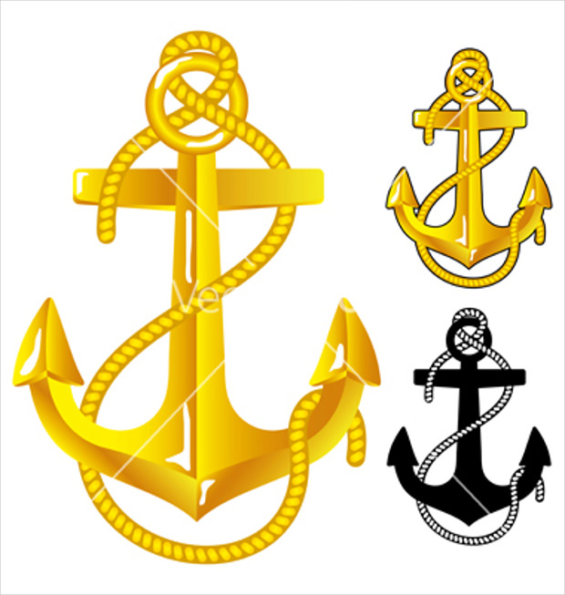 Gold Colored Anchor Shapes