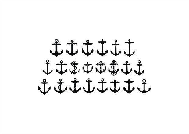 Anchor Silhouettes Set Vector