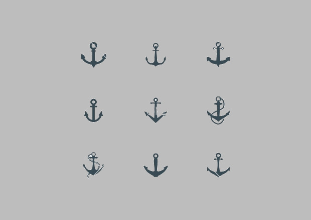Black Anchor Icon set