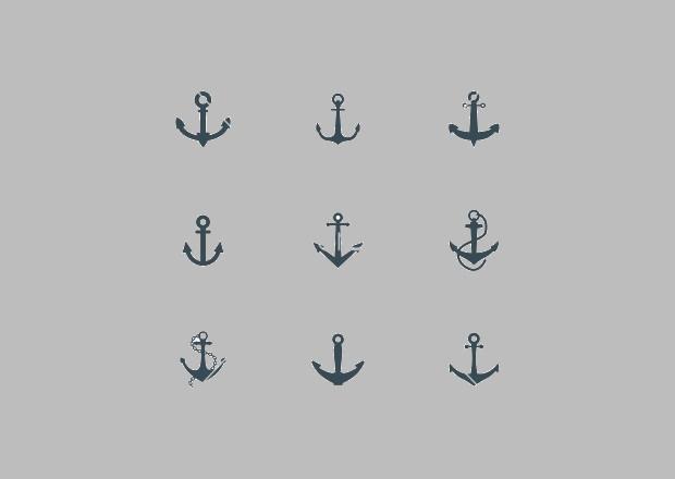 black anchor icon set