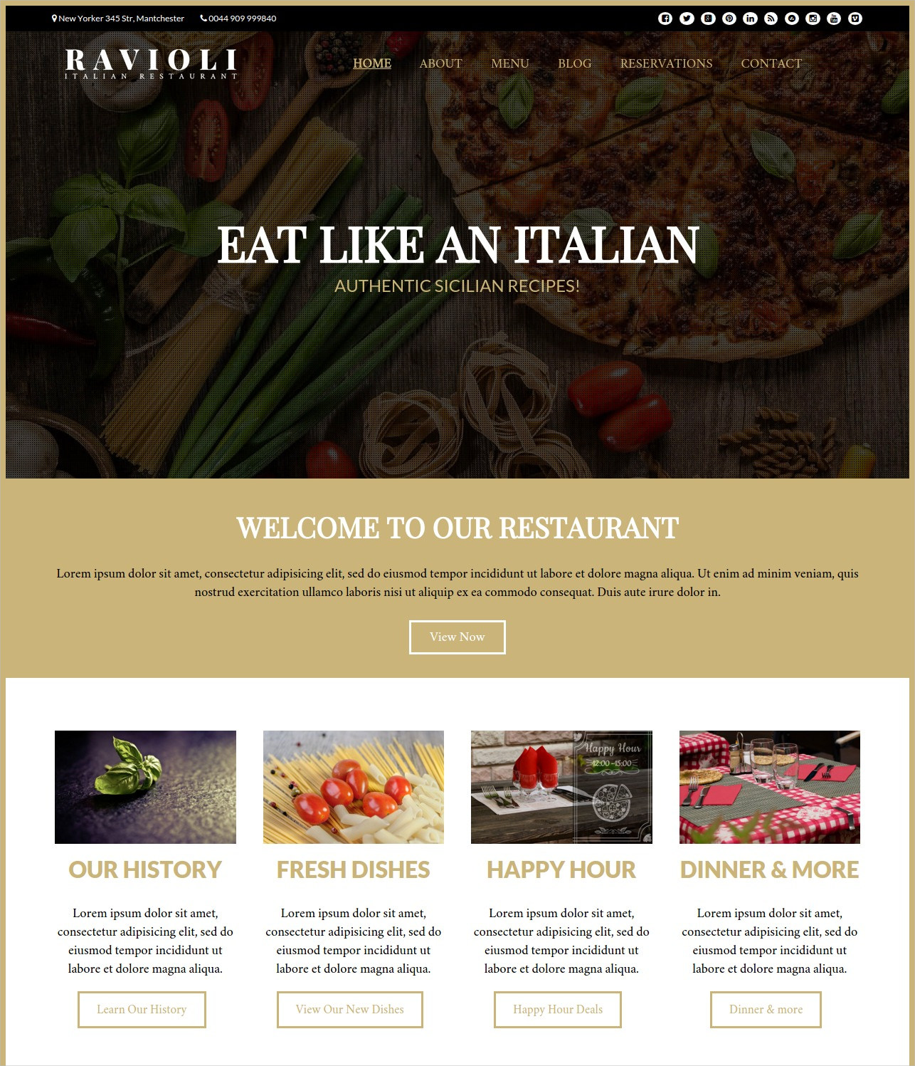 Classic Italian Restaurant WordPress Theme