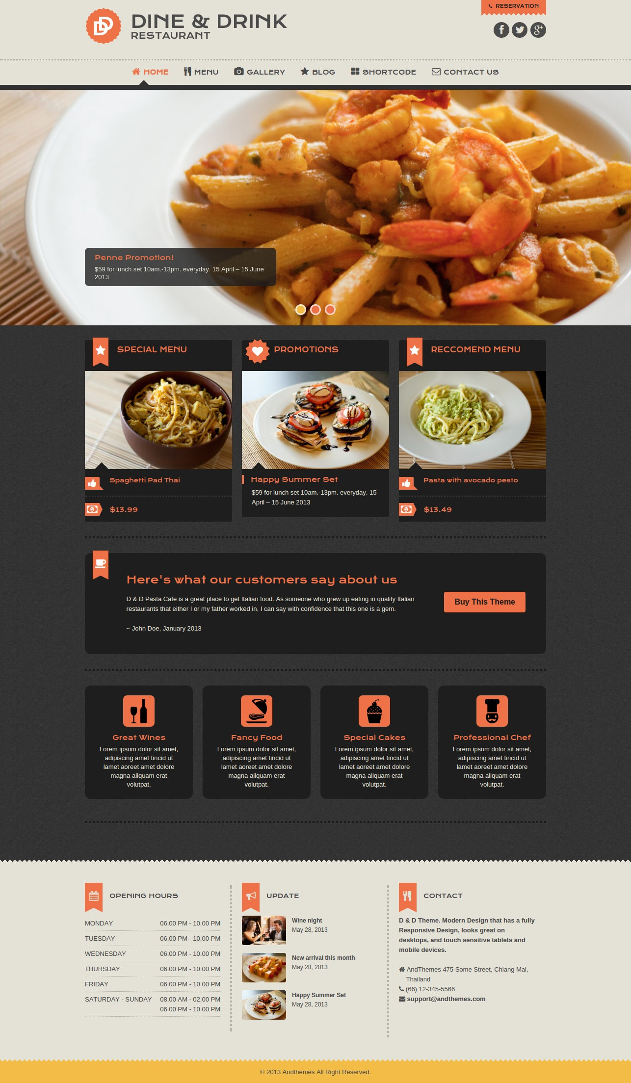 dine drink restaurant wordpress theme