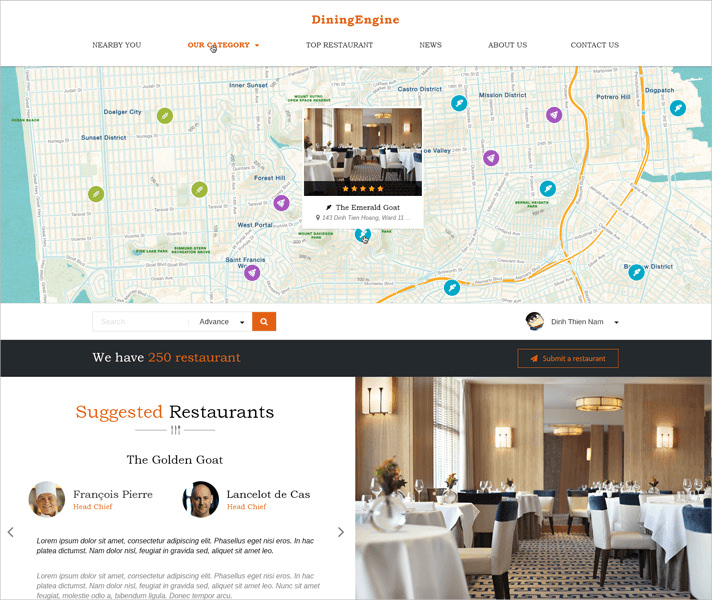 Dining Engine WordPress Theme