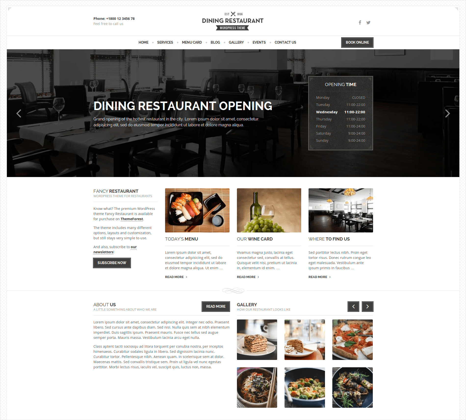Dining Restaurant WordPress Theme