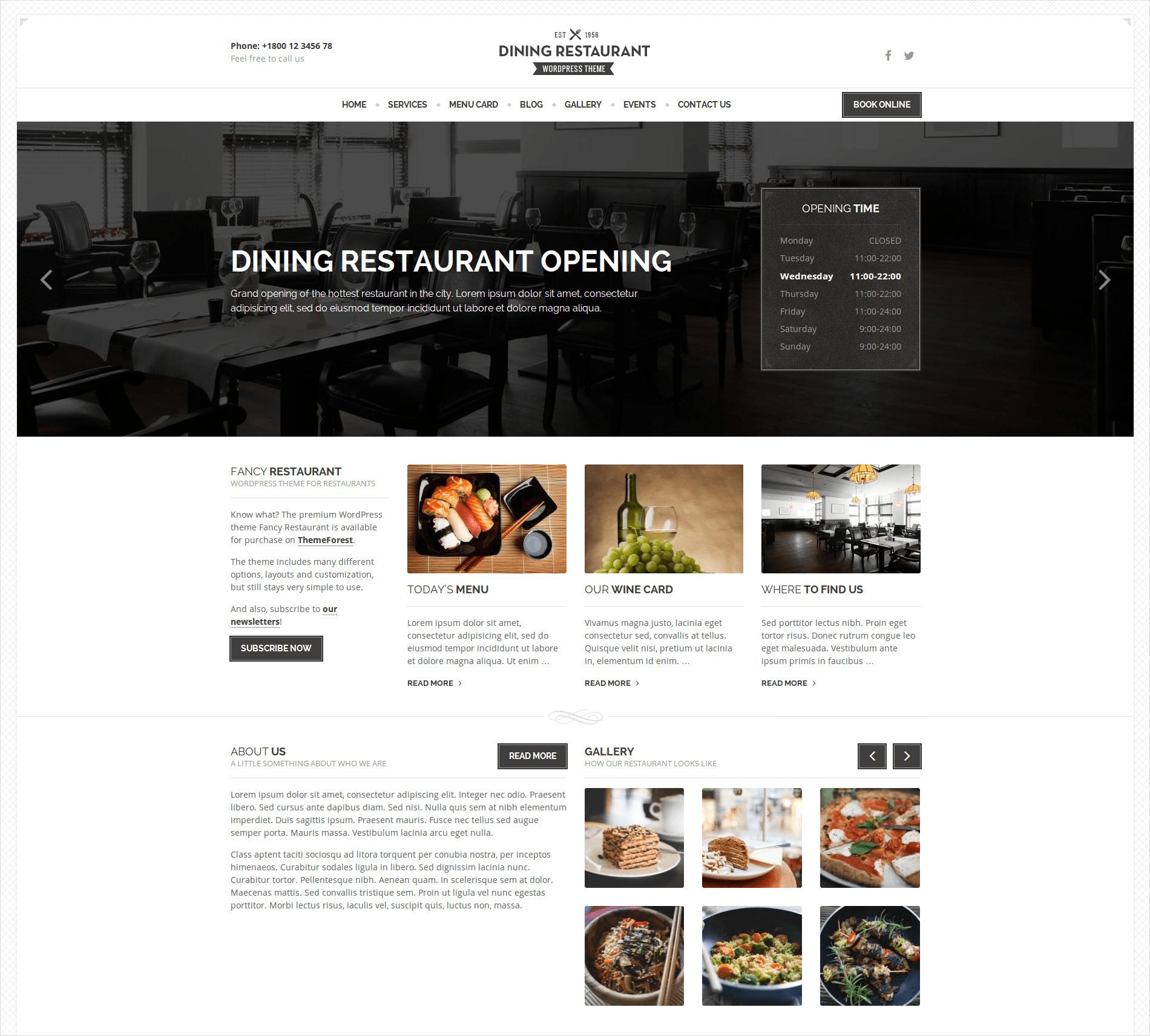 dining restaurant wordpress theme