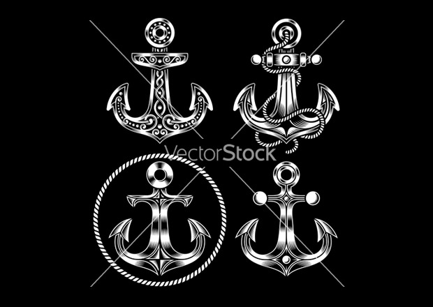 Set of Beautiful Anchor Vector Icons