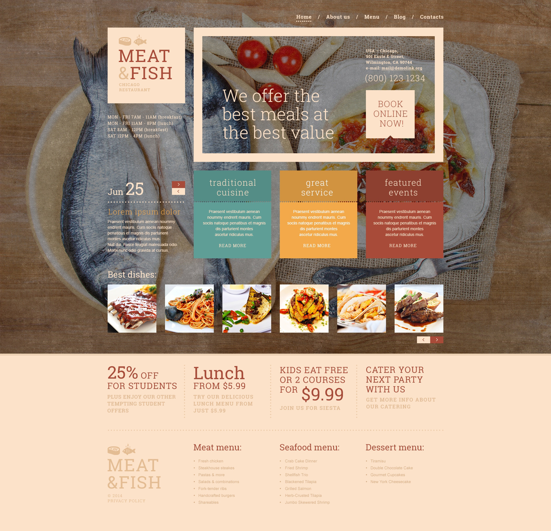 Meat Fish Restaurant WordPress Theme