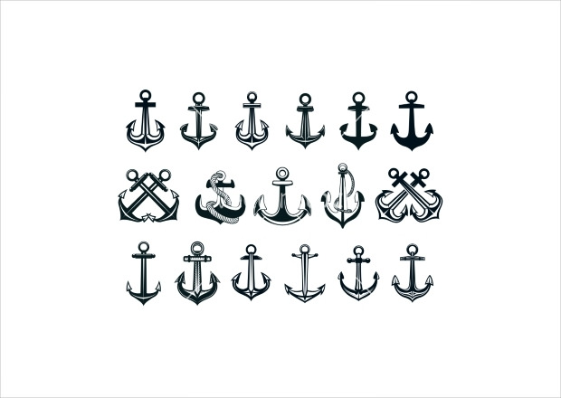 Ships Anchor Icons Vector