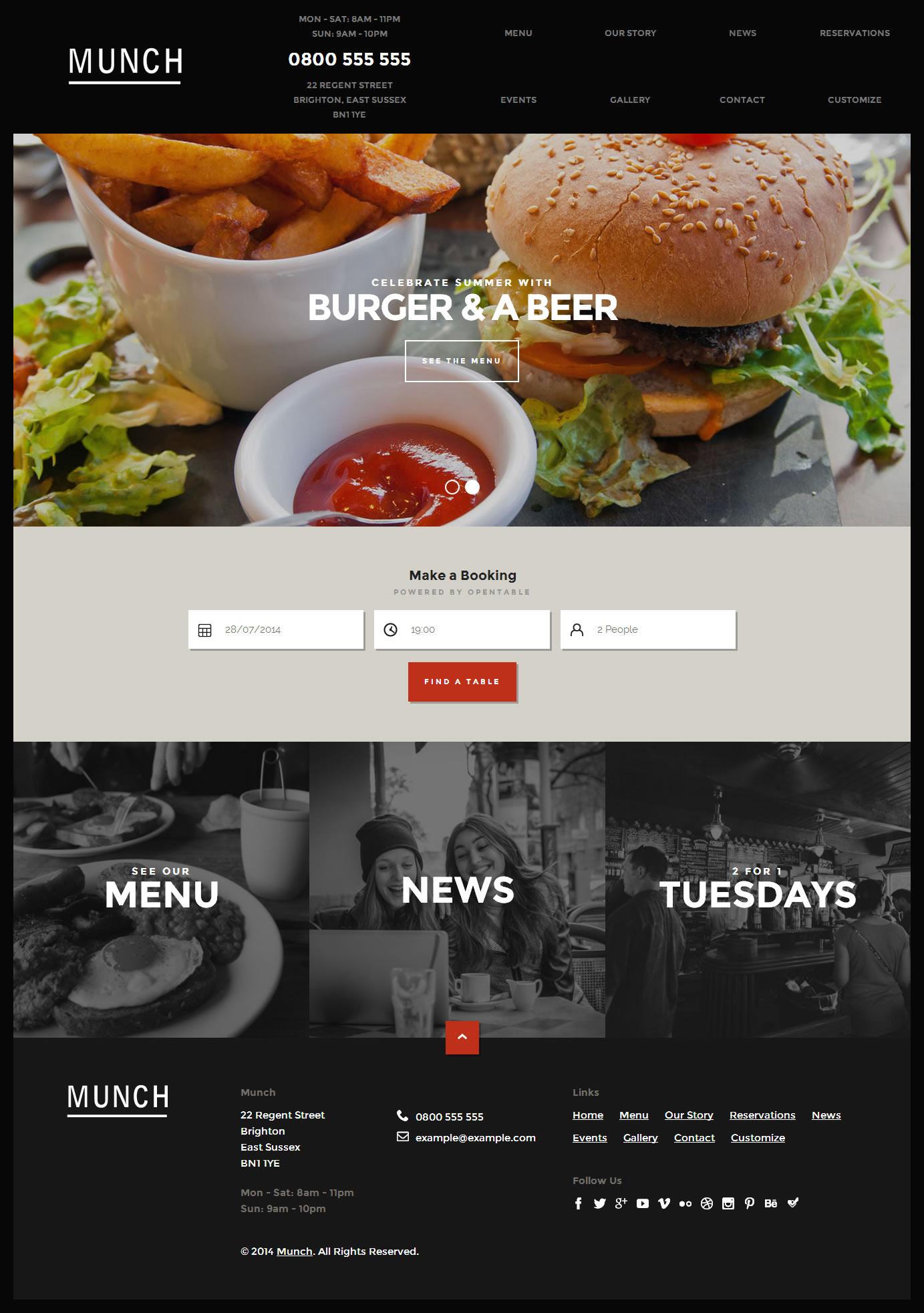 restaurant business wordpress theme