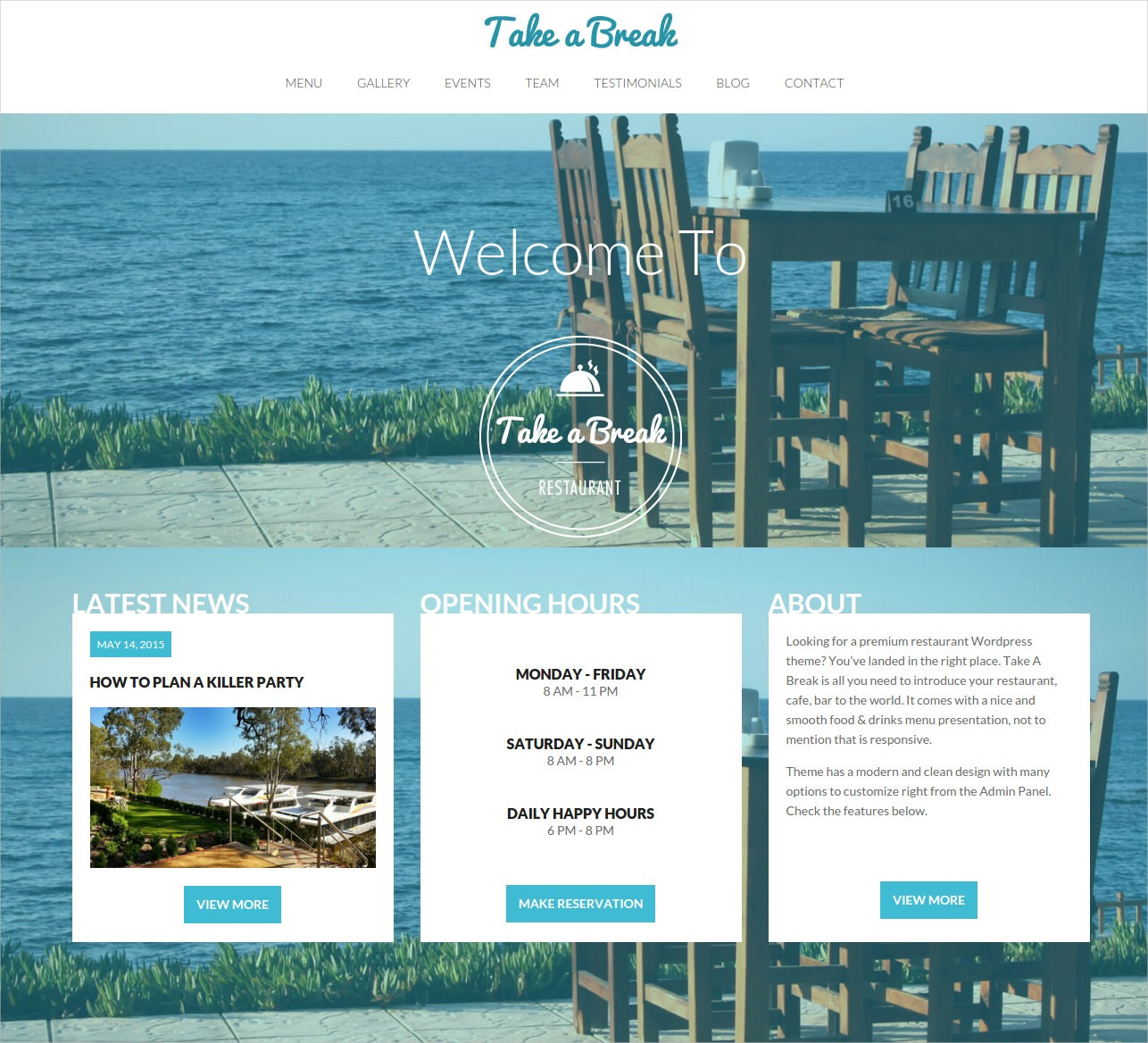Restaurant One Page WordPress Theme