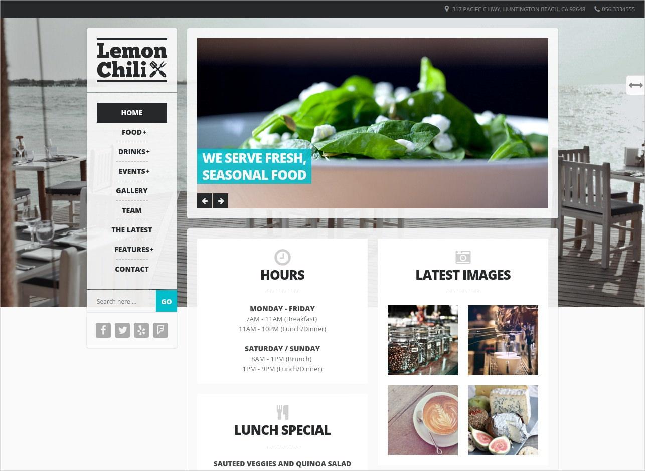 restaurants cafes wordpress theme