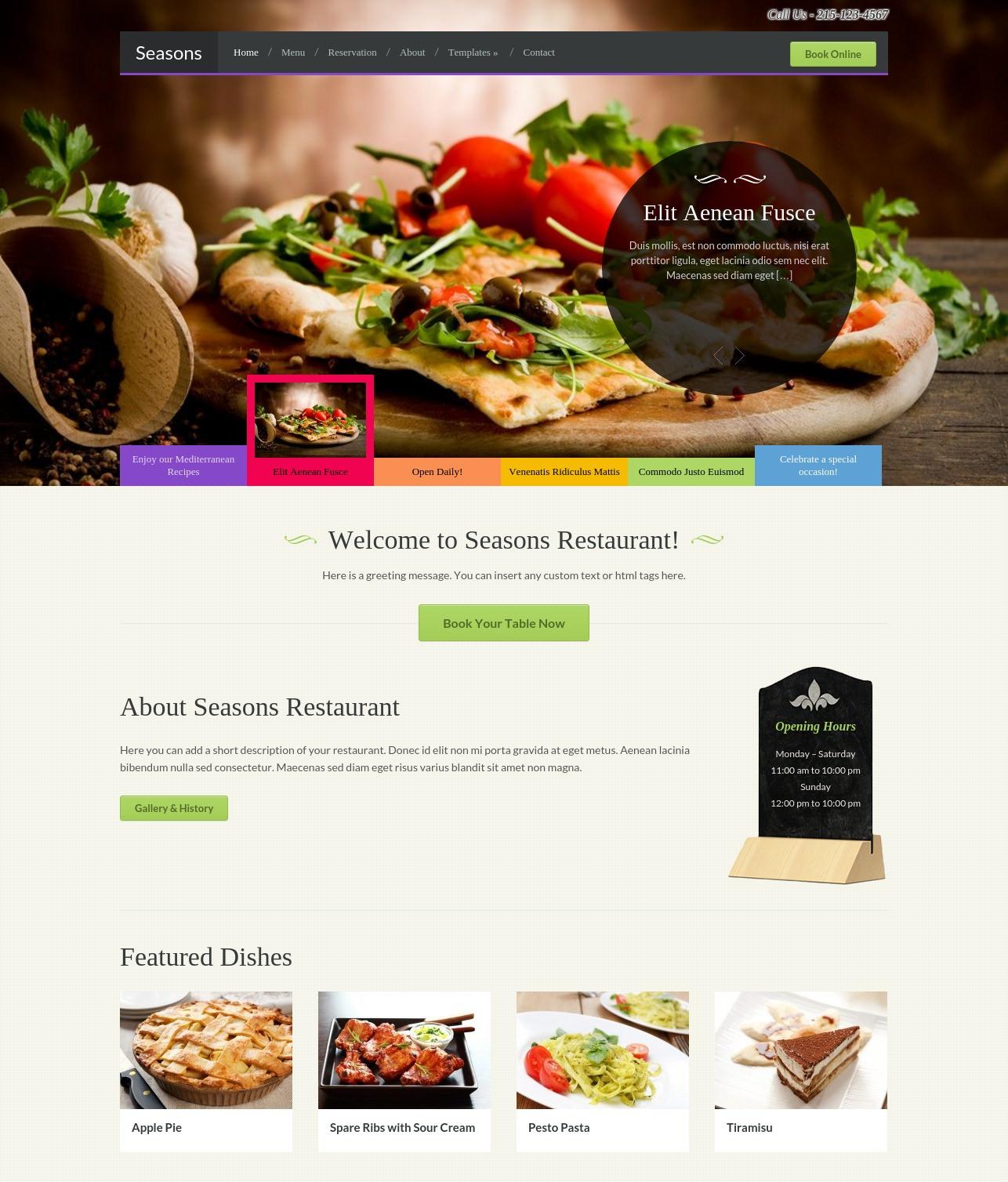 season restaurant wordpress theme