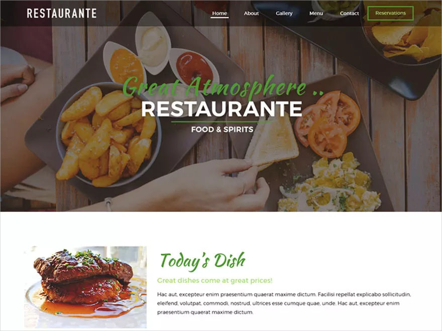 simple restaurant wordpress blog theme