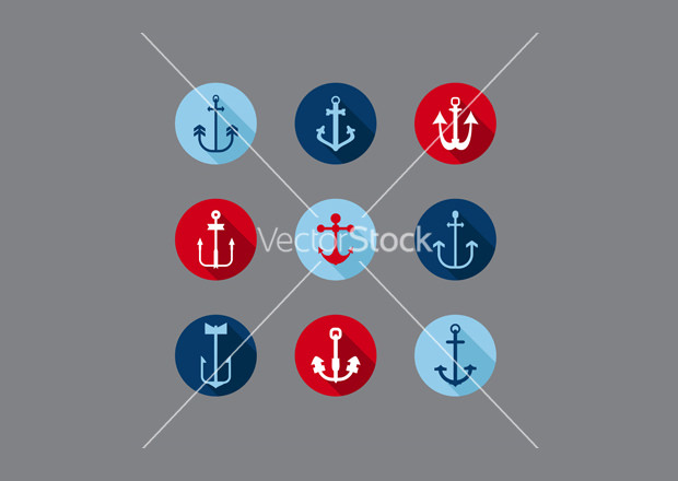 Anchor Nautical Icons Vector