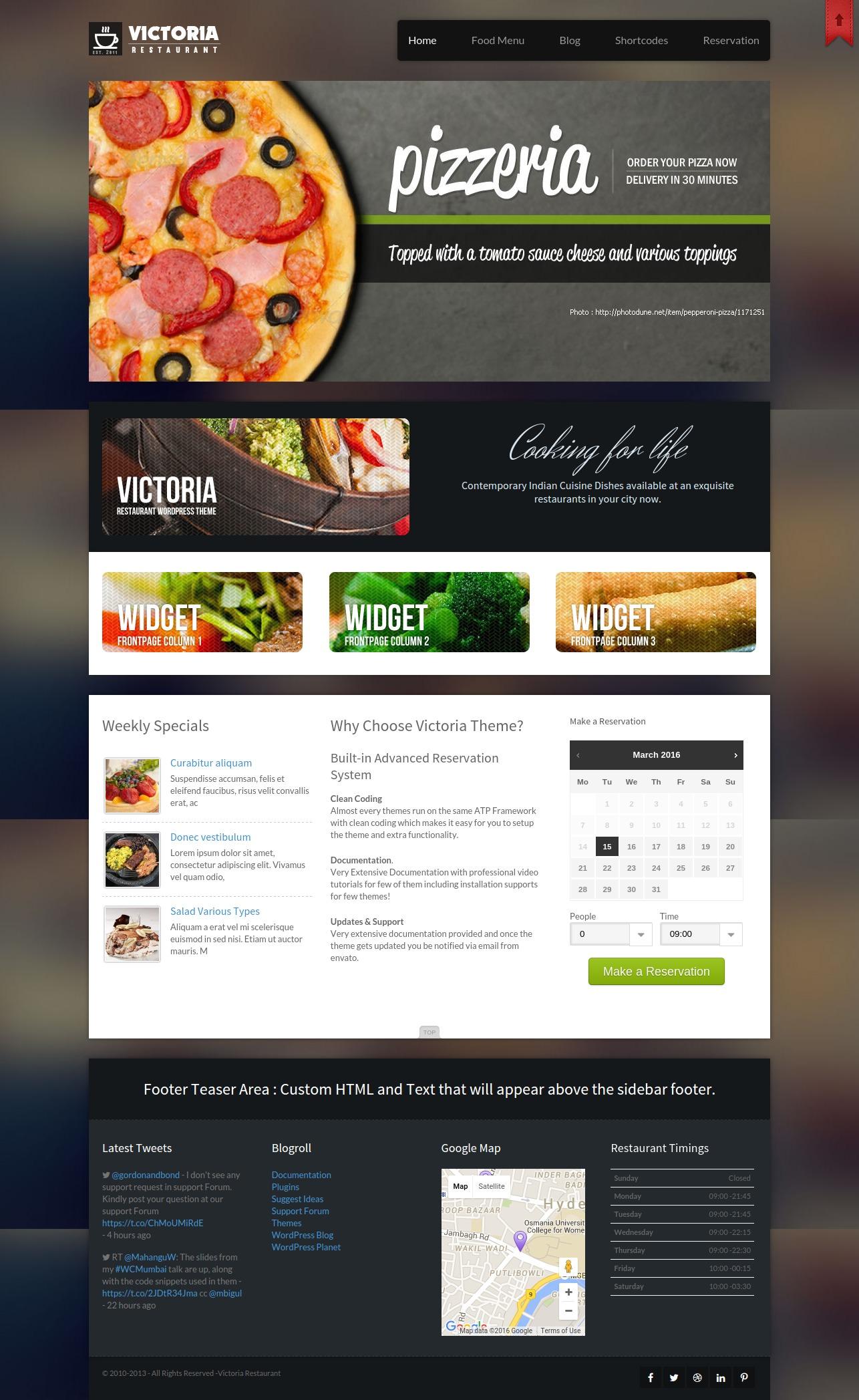 victoria restaurant wordpress theme