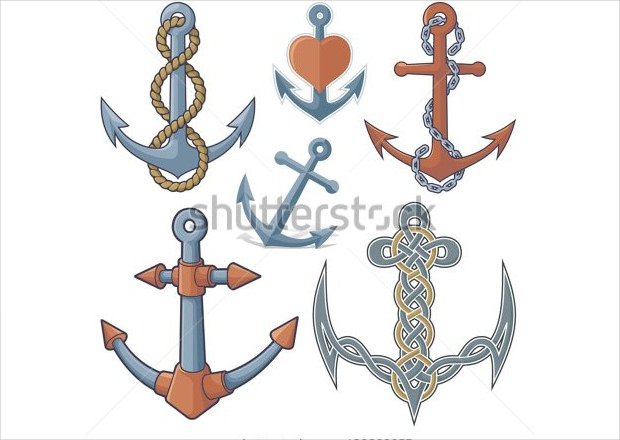 collection of six anchor icons shapes