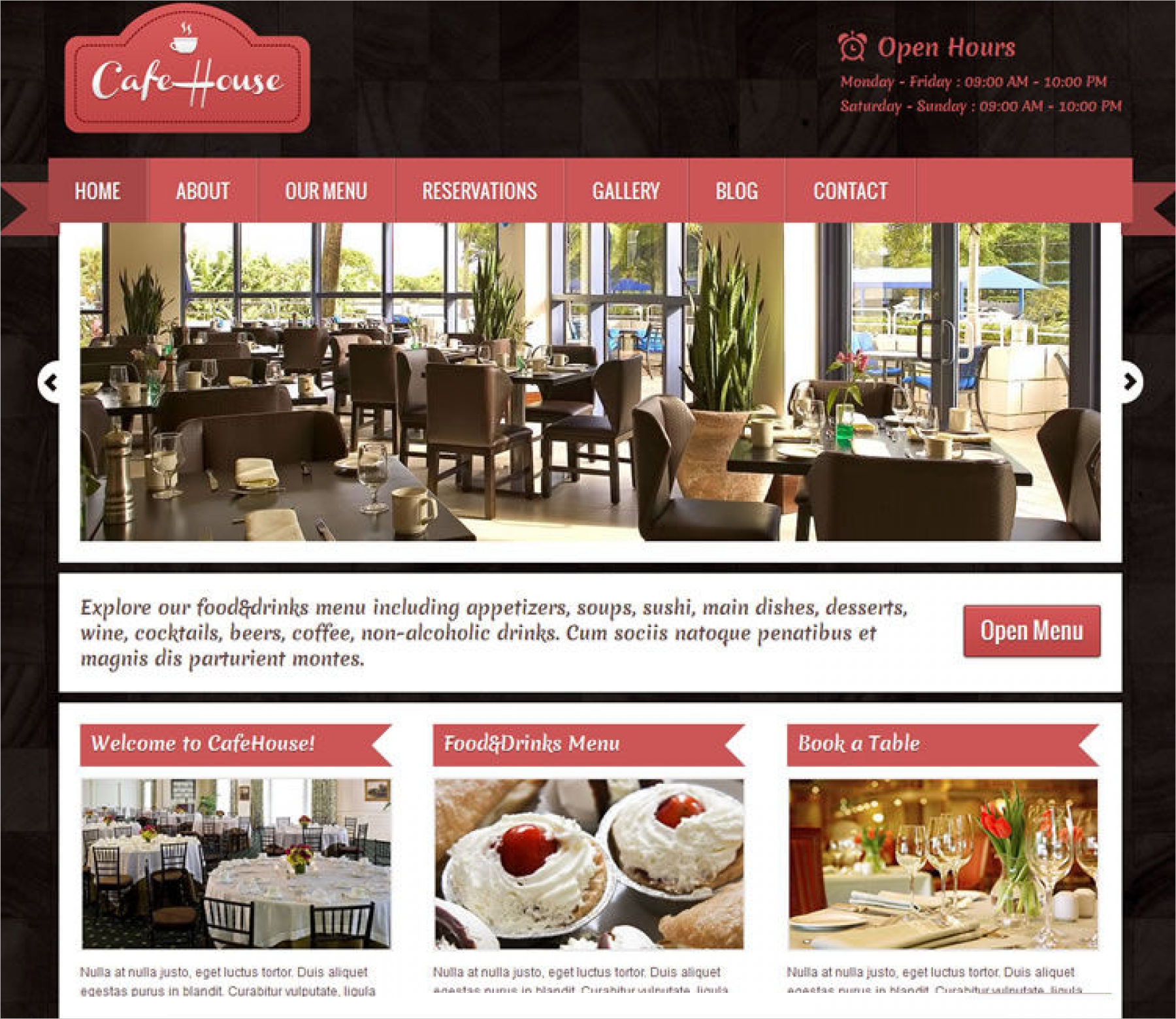 Cafe House Restaurant WordPress Theme