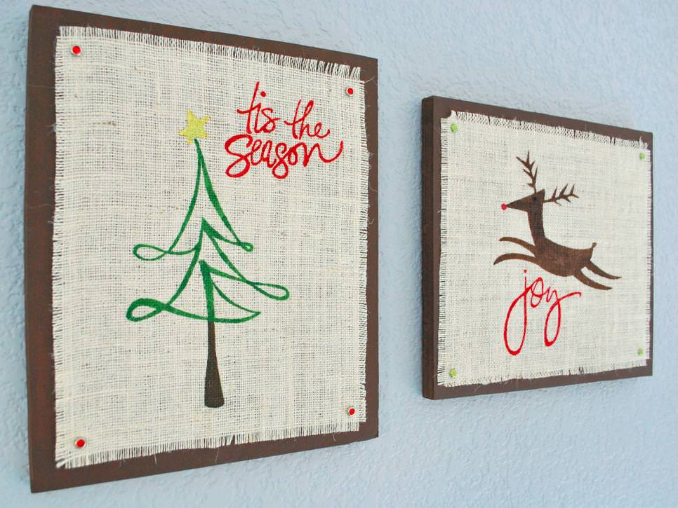 Stenciled Burlap Wall Art With Christmas Designs