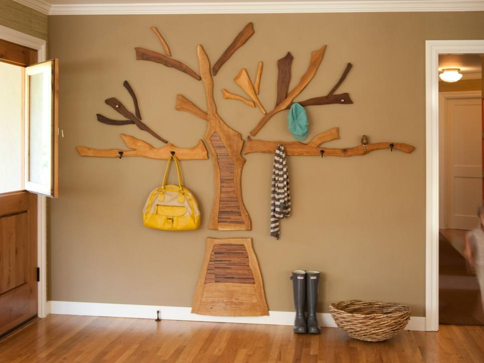 Wooden tree is part wall art design