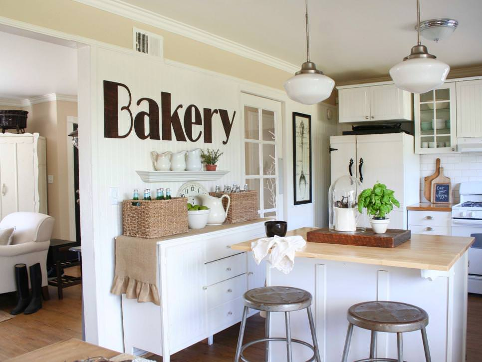 White Cottage Kitchen With Wall Graphic