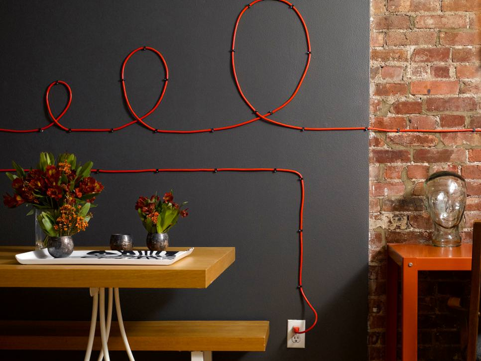 Modern Office With Organized Cable Cord Art