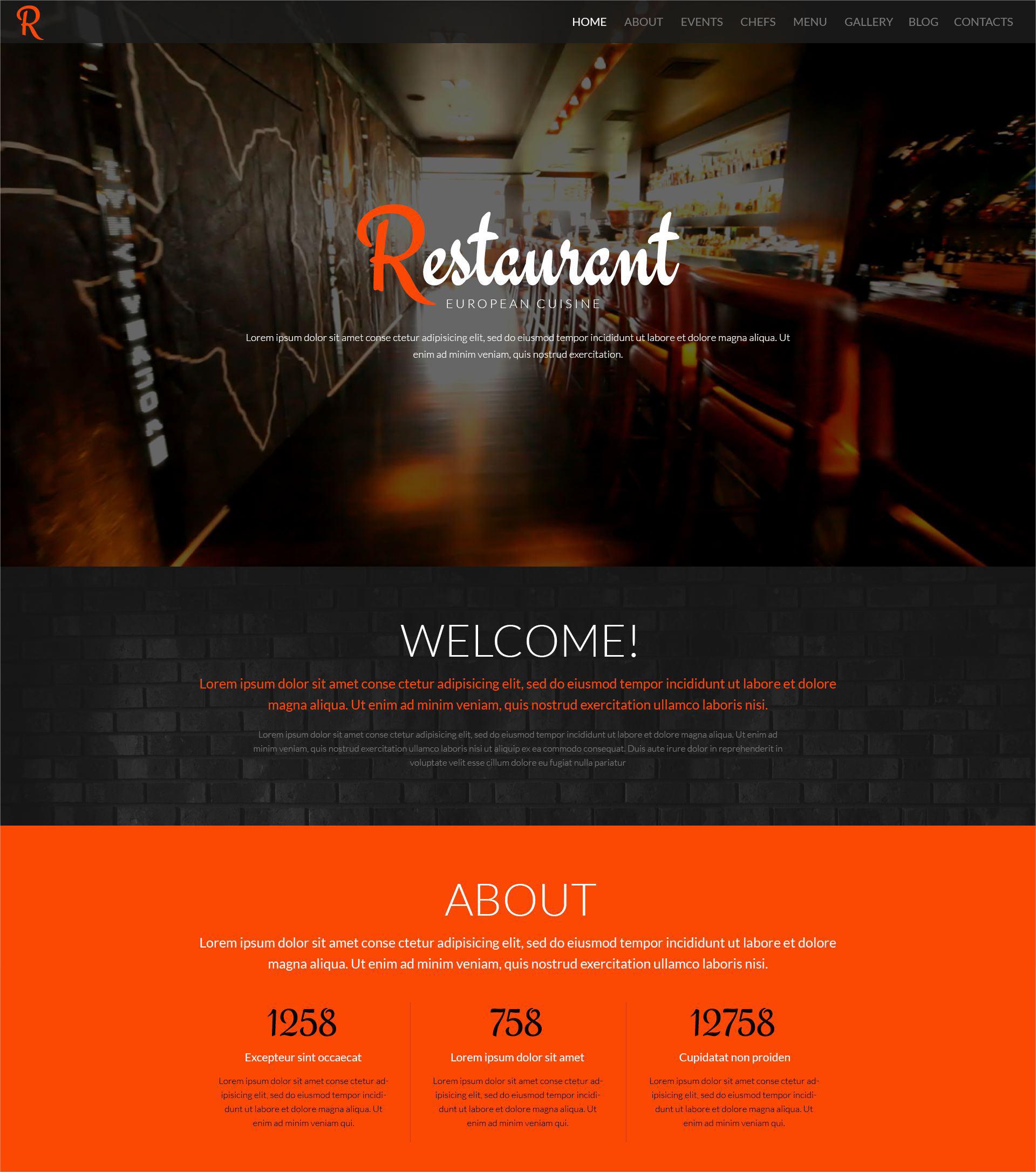 stylish restaurant wordpress theme