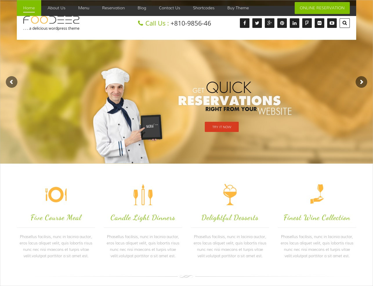 e Restaurant WordPress Theme