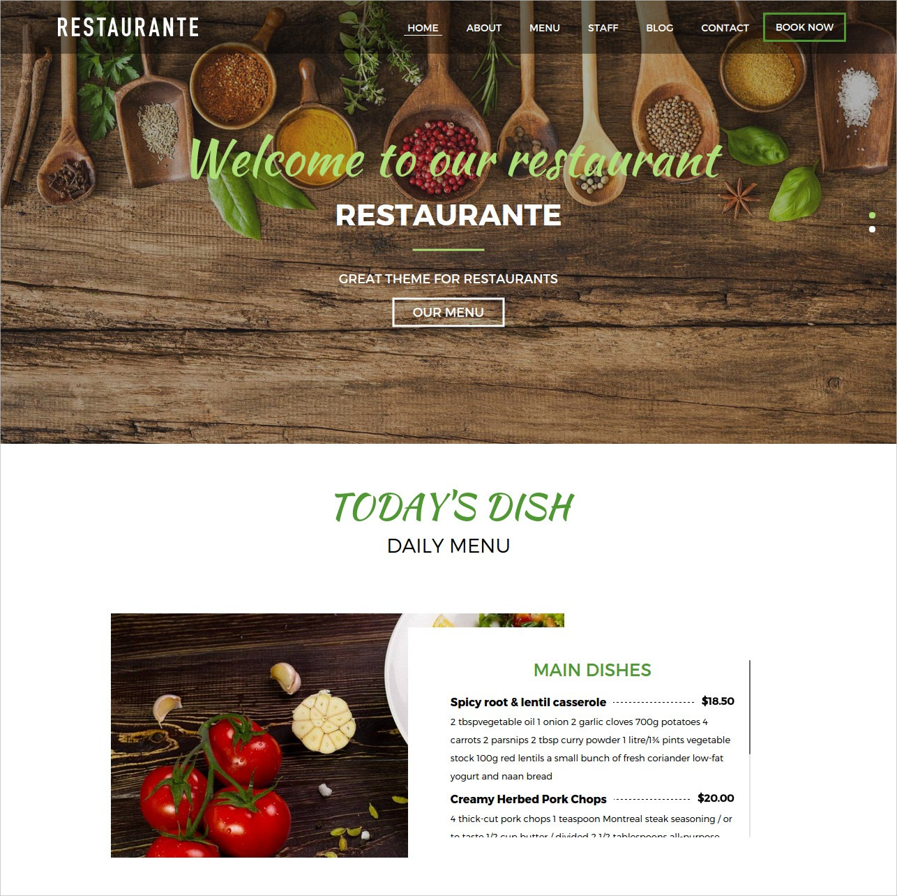 Creative Restaurant WordPress Theme