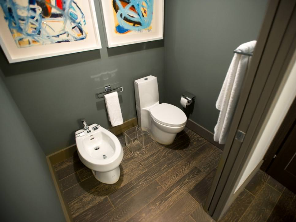 Private Water Closet With Colorful Artwork
