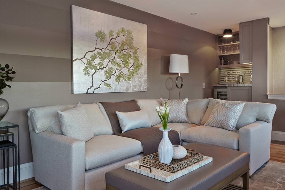 Transitional Sitting Room with wall decor