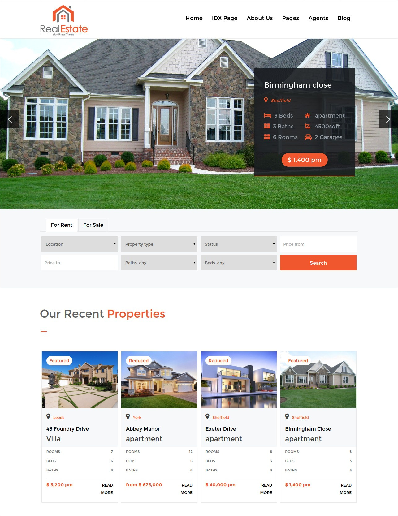 realtors brokerage wordpress theme