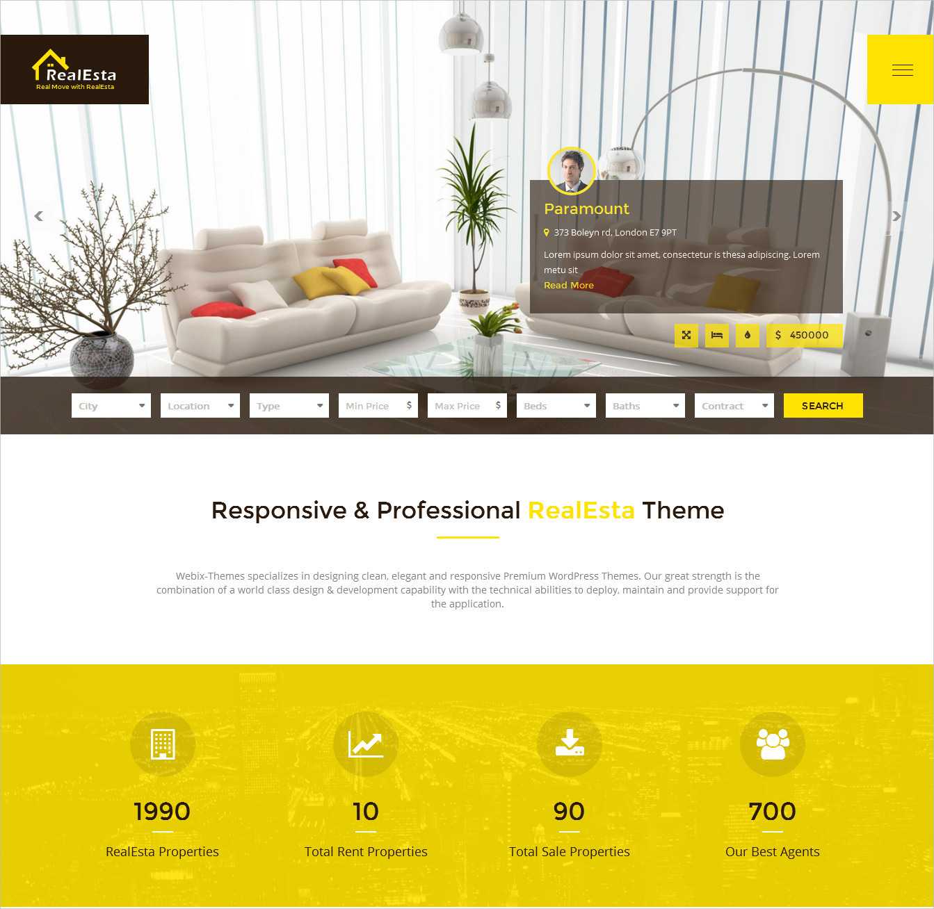 responsive professional real estate wordpress theme