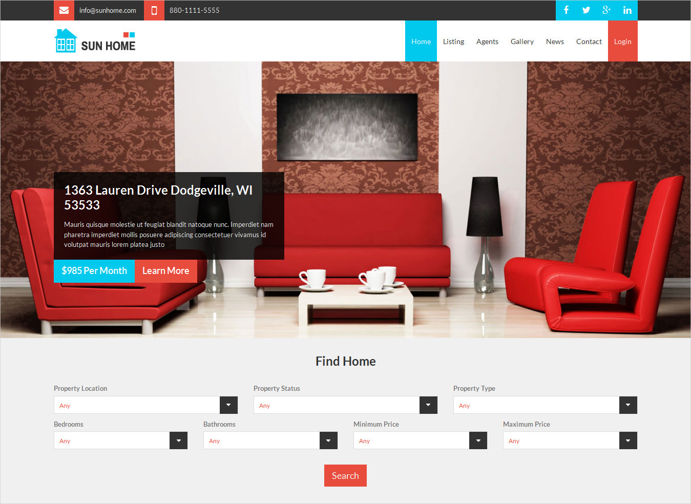 sun home real estate wordpress theme